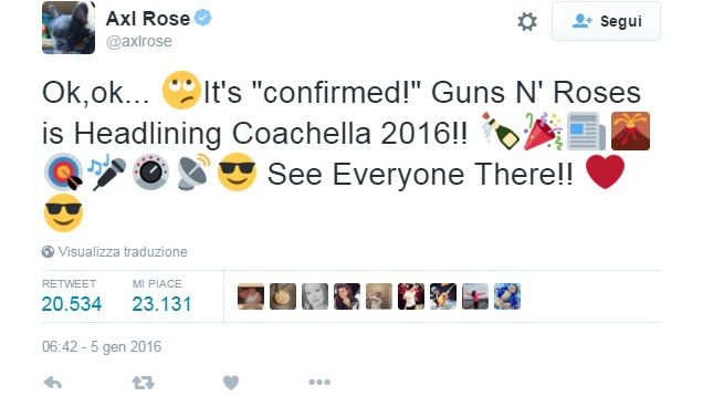 Il tweet di Axl Rose
